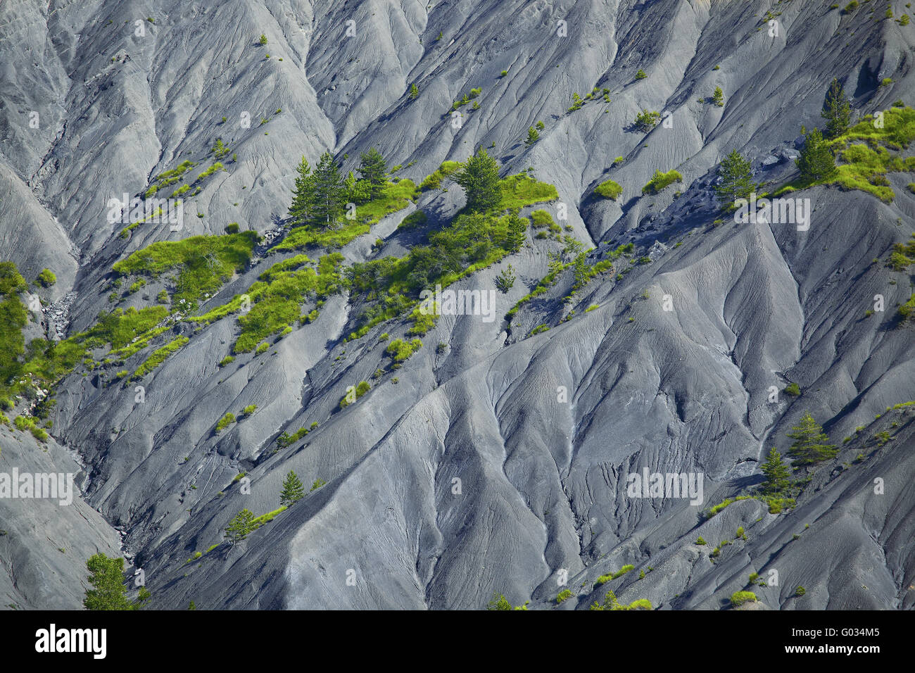 fold mountains at the Col de Corobin, Provence - Stock Image