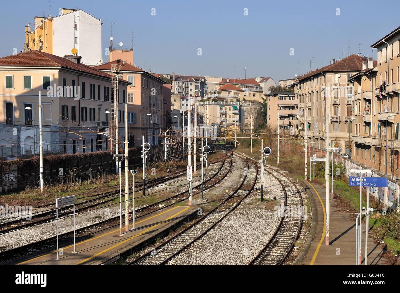 Railway end at porta genova milano stock photo 103331884 - Carabinieri porta genova milano ...