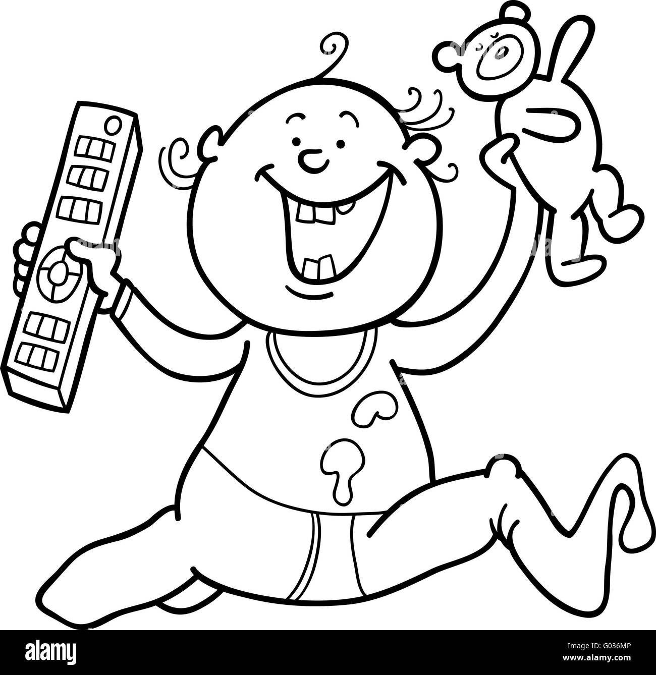 boy with remote control and teddy bear for colorin - Stock Image