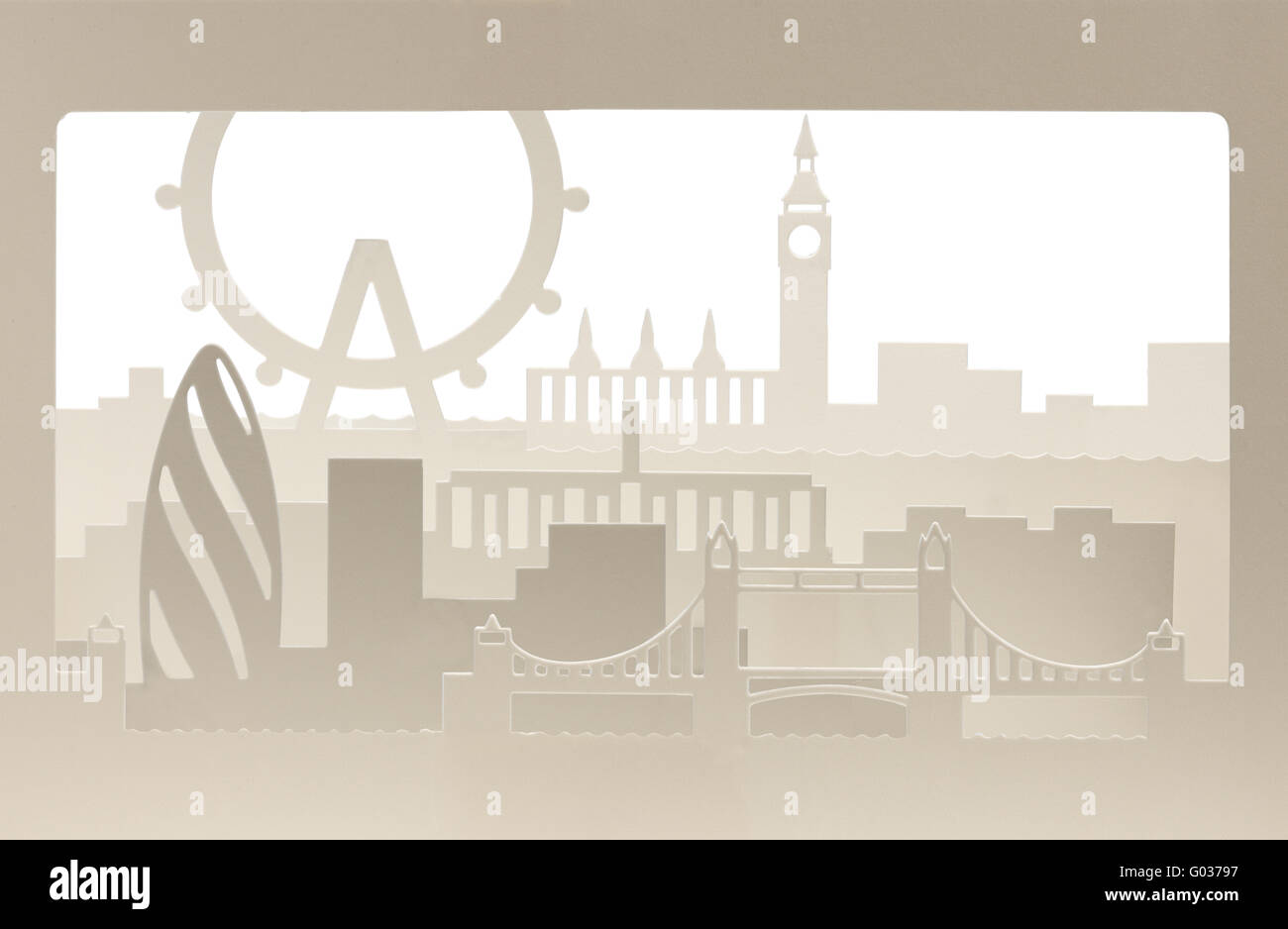 London carton silhouette with sand structure Stock Photo