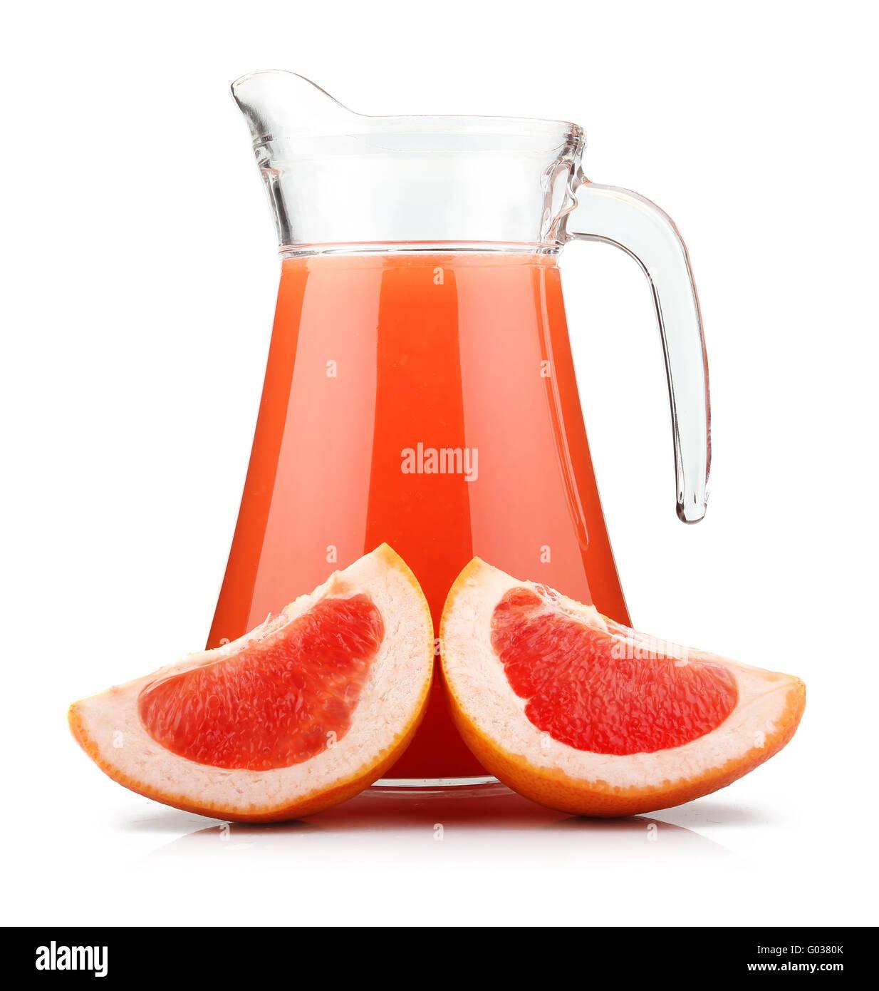 Full jug of grapefruit juice and fruits isolated - Stock Image