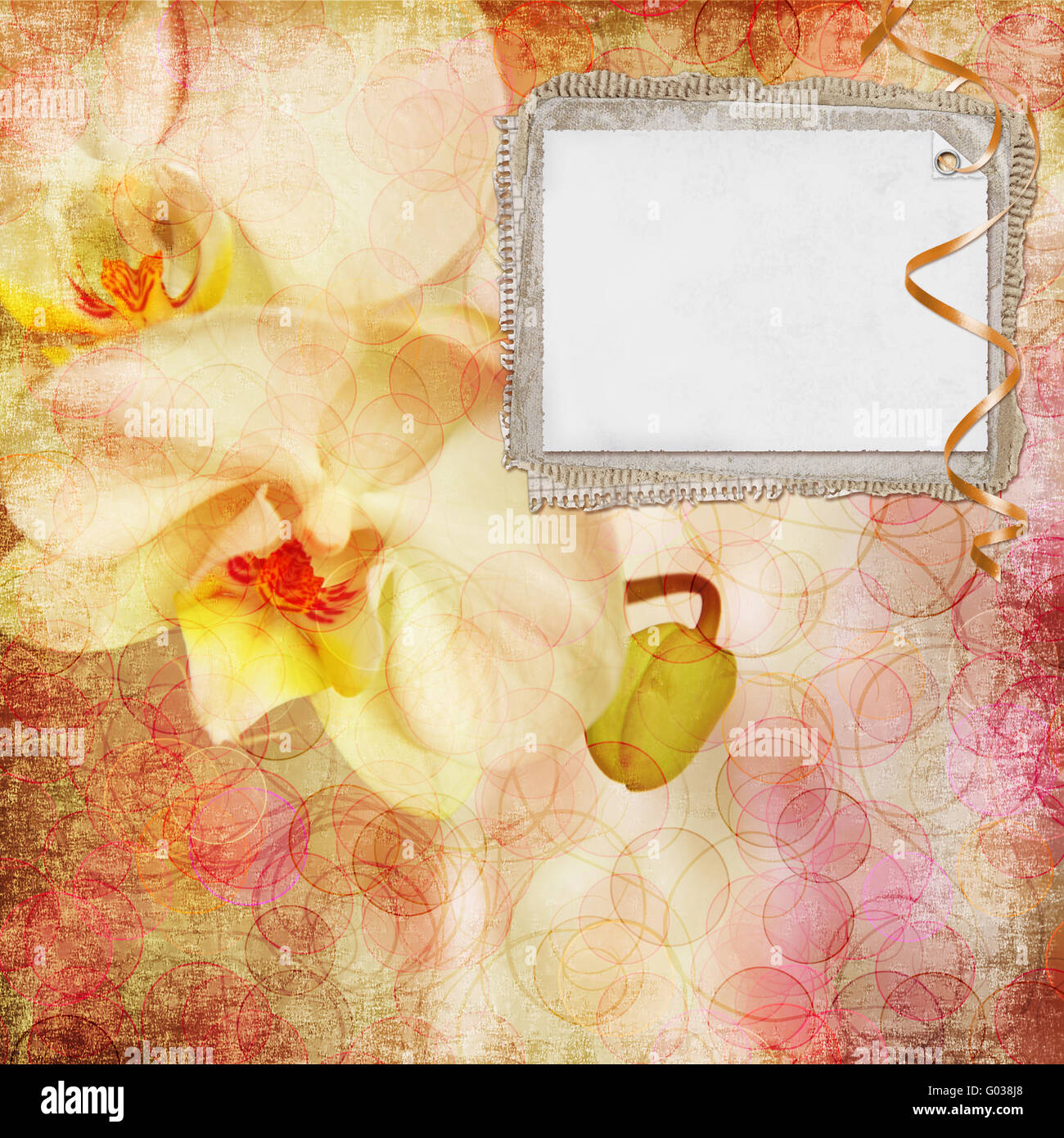 Floral greeting card with place for your text. - Stock Image