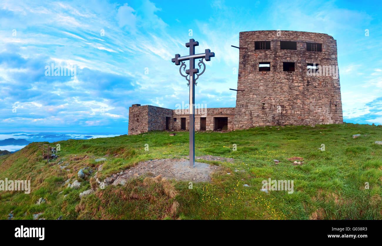 Observatory ruins on Pip Ivan mountain (Carpathian, Ukraine) Stock Photo