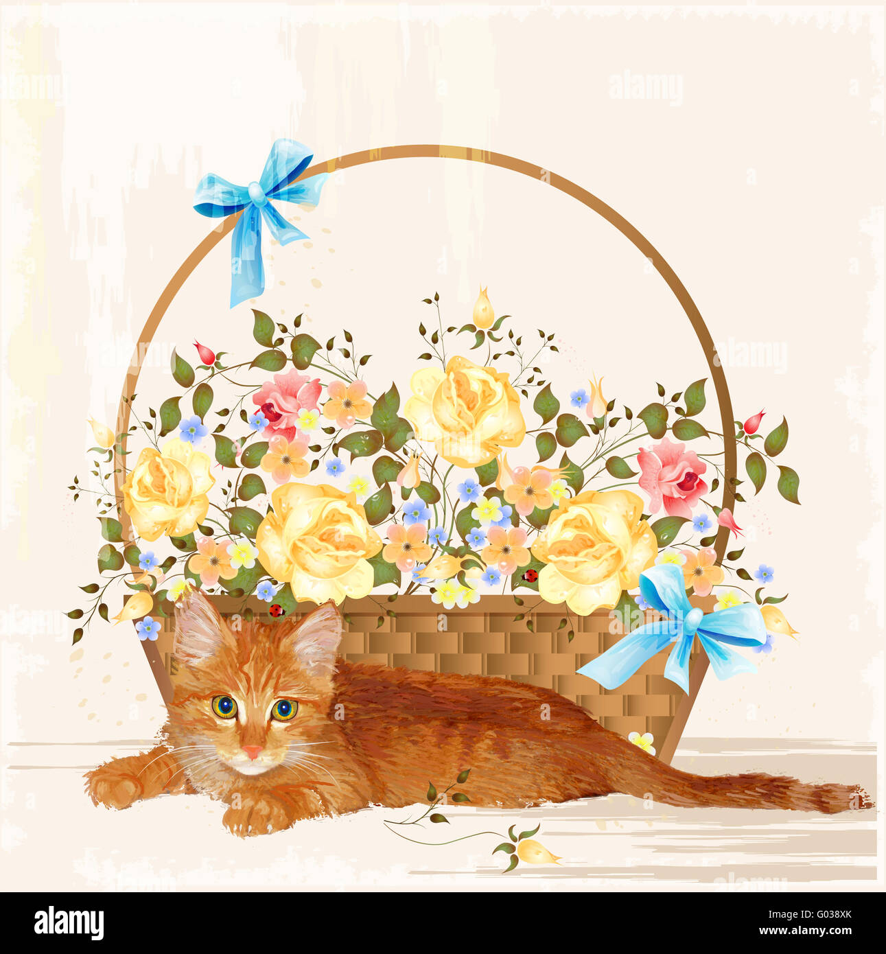 vintage greeting card with ginger  kitten and basket - Stock Image