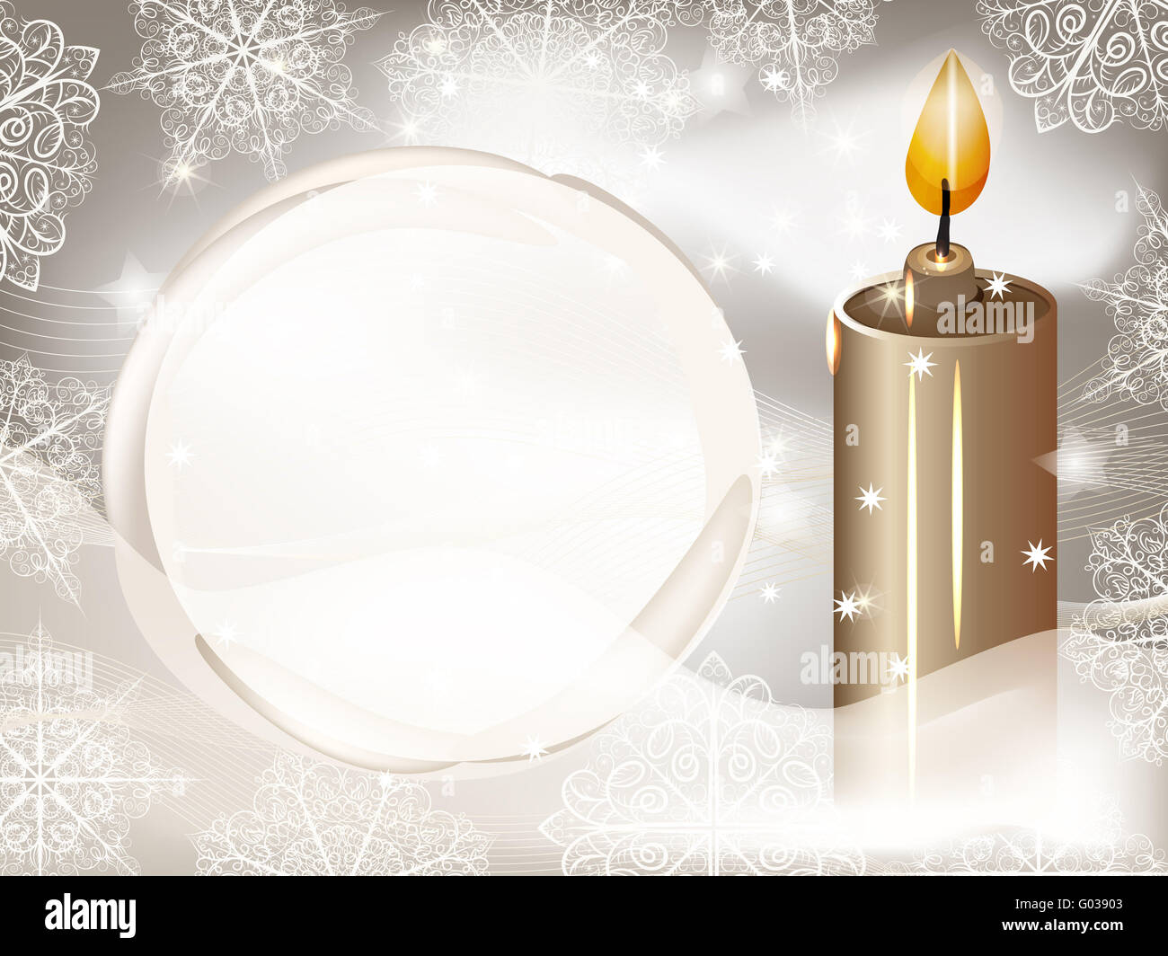 vector candle on winter background with snowflakes and snowball for your text - Stock Image