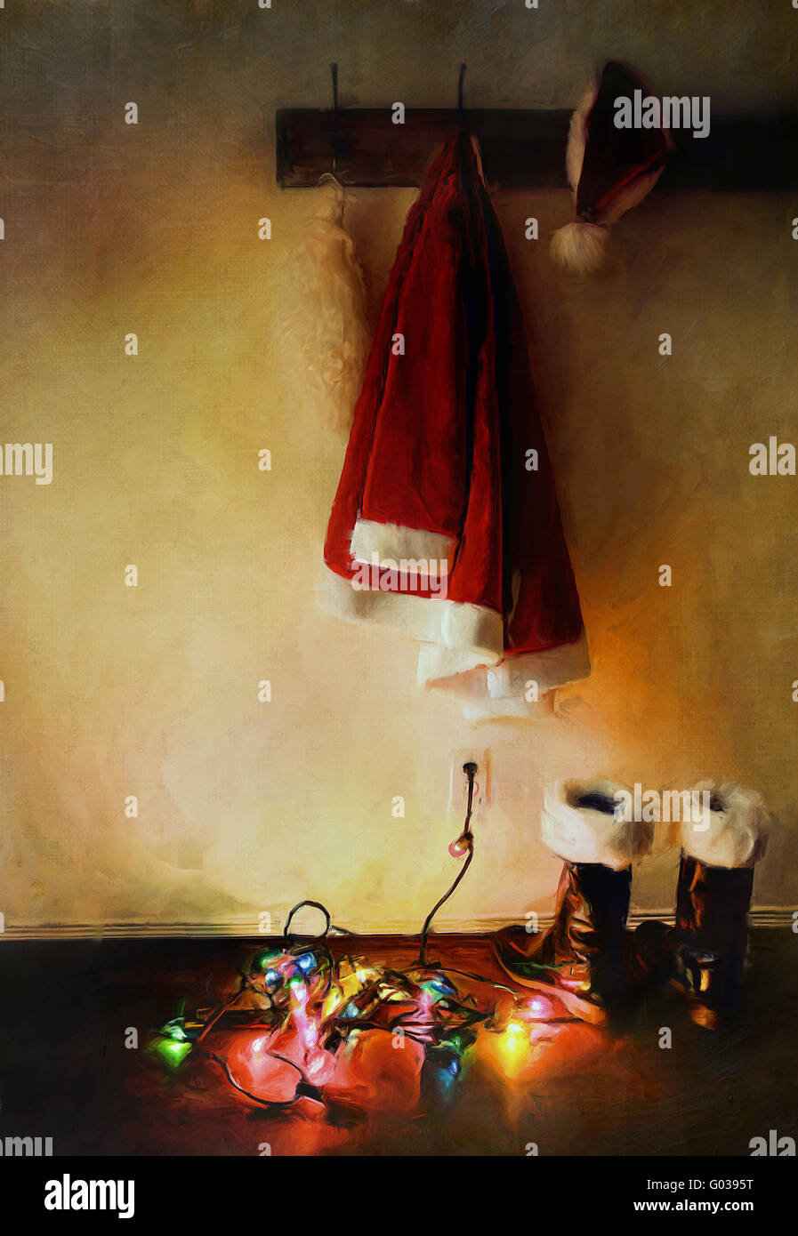 Digital painting of santa costume with lights - Stock Image