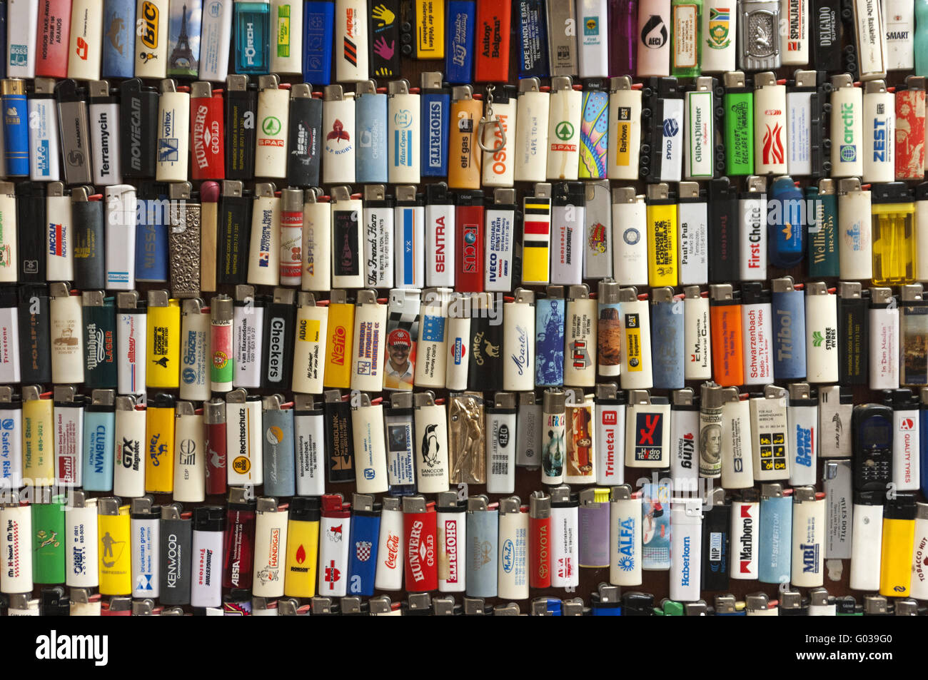 Hobby collection of gas pocket lighters - Stock Image