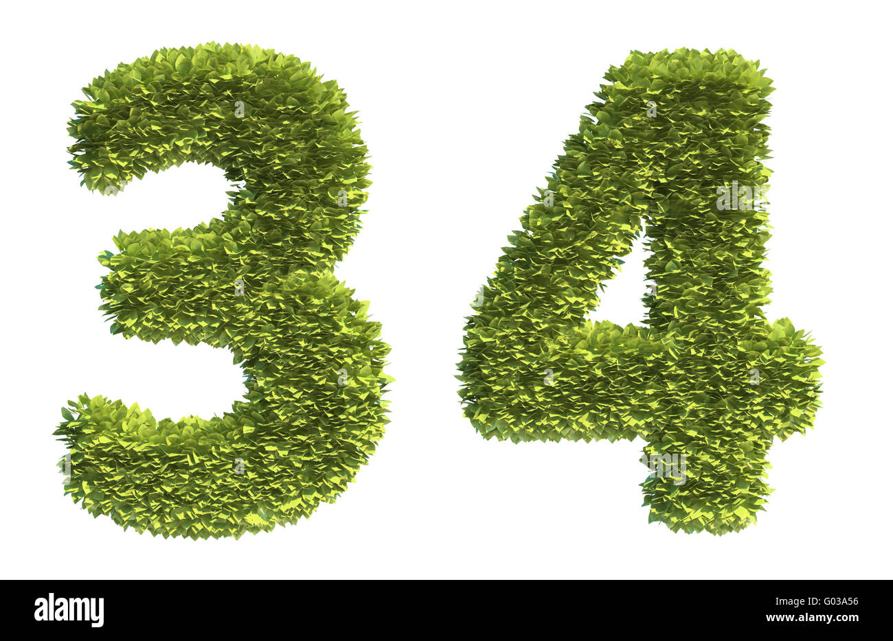 Leaf covered letters - part of a full alphabet - Stock Image