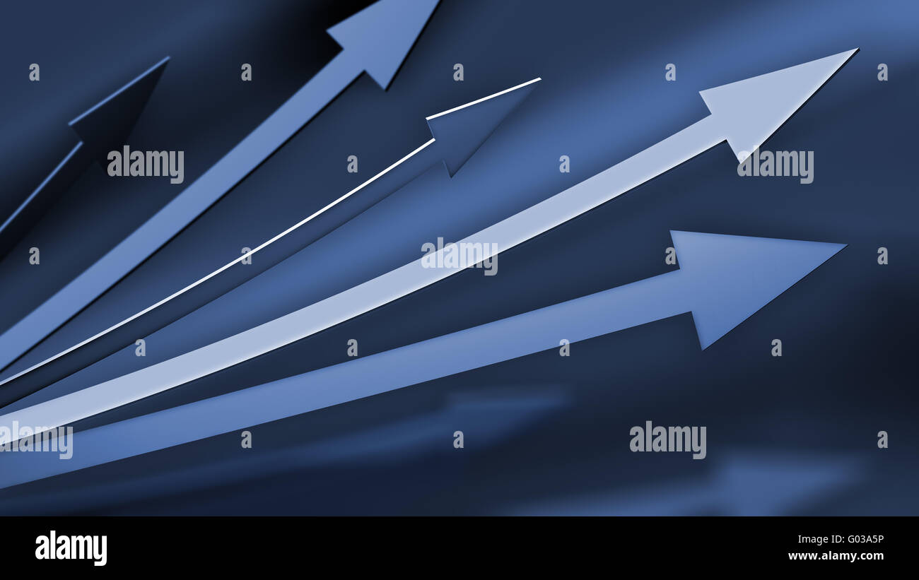 Blue Background with abstract arrows pointing upwards - Stock Image