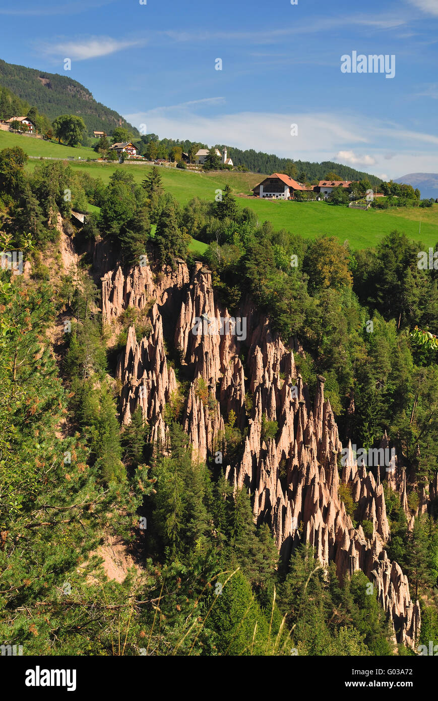 Natural Heritage Earth Pyramids in South Tyrol - Stock Image