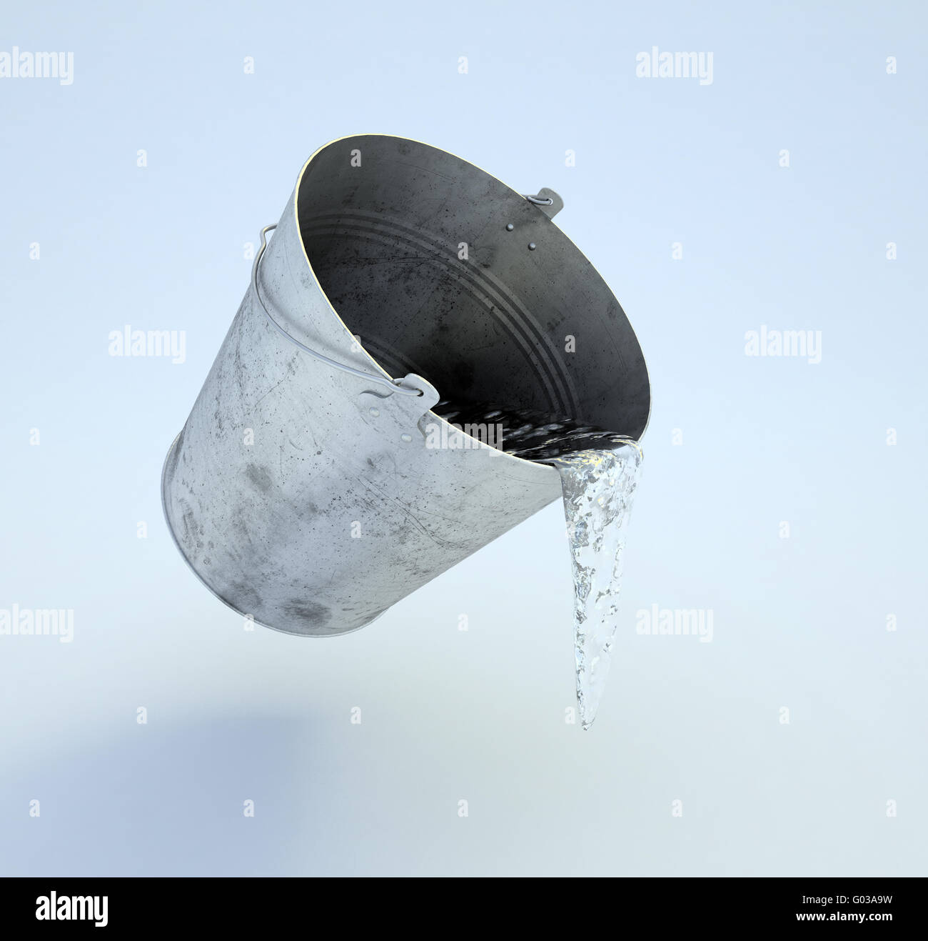 metal bucket full of water levitating over the floor - Stock Image
