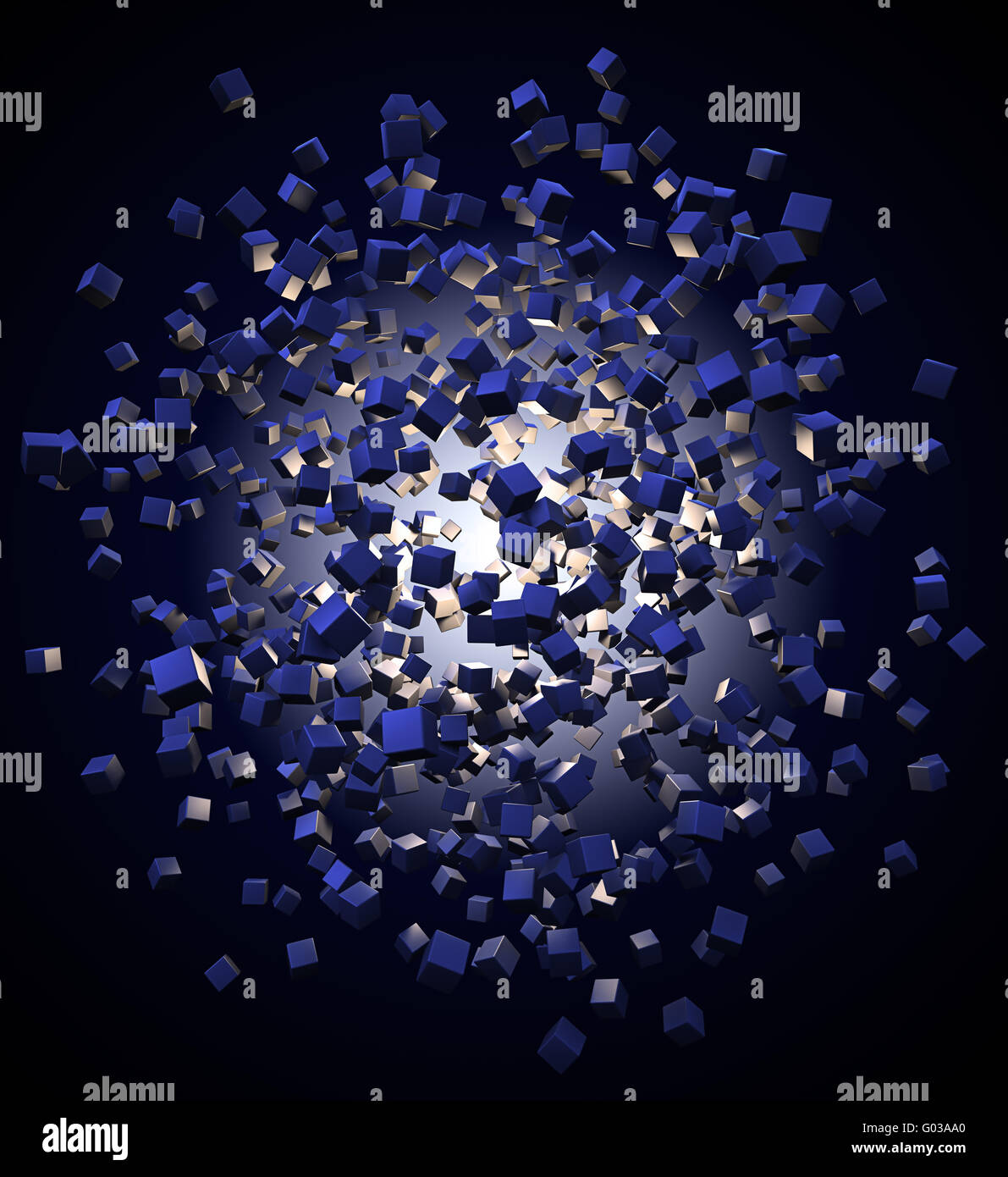 An explotion of abstract cubes cgi background - Stock Image