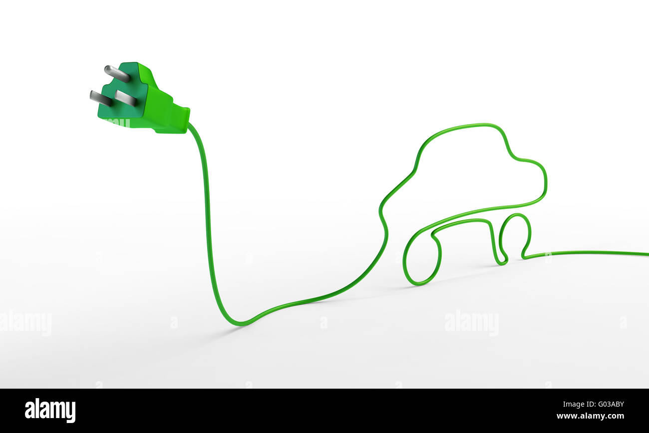 Electric car concept - electric plug with a car-shaped cord. - Stock Image