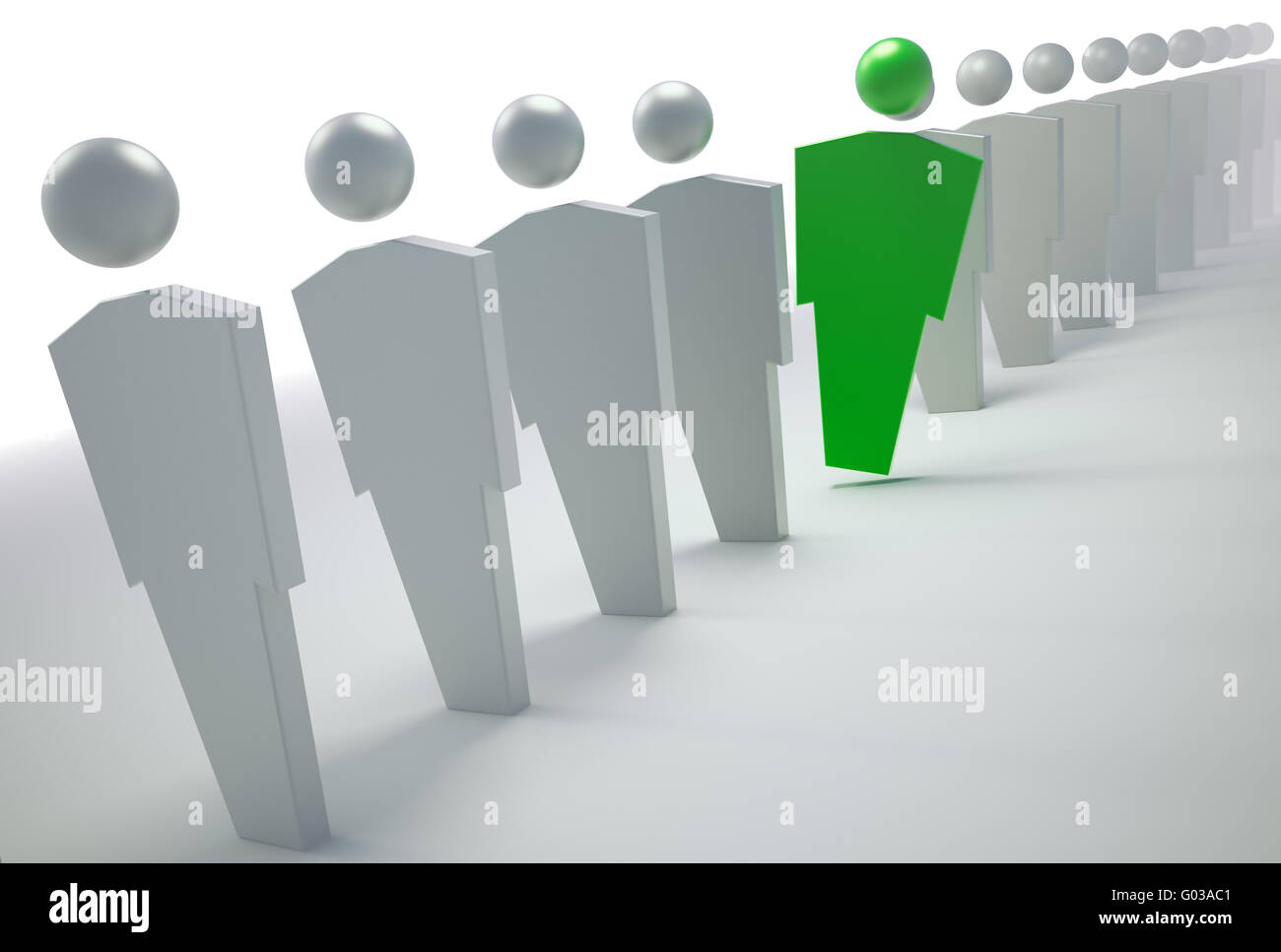 3D people symbols - green unique character in a line - Stock Image