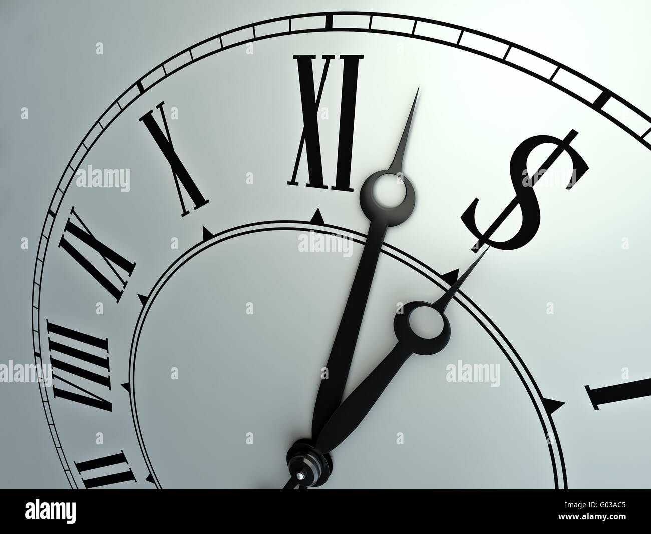 Time is money - financial concept illustration with a clock - Stock Image