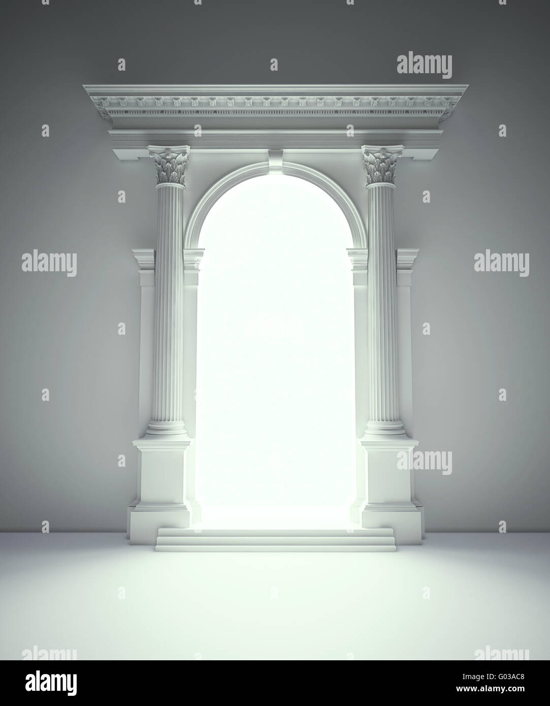 Classical architecture portal with corinthian columns, arcades and entablature - Stock Image