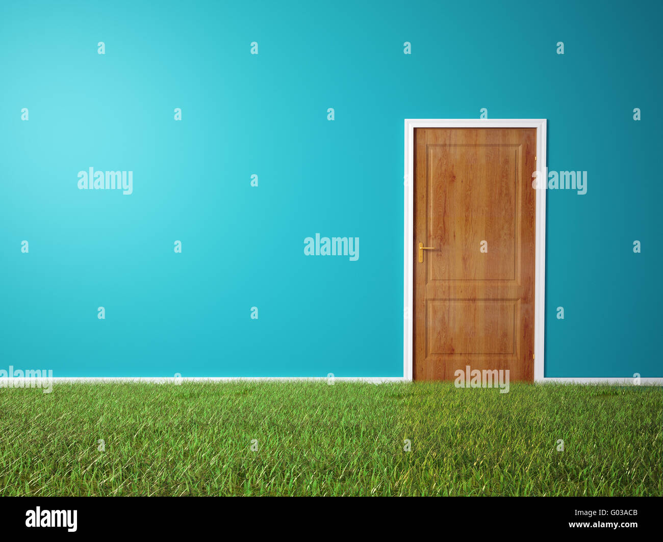 Room with wooden door and a grass covered floor - Stock Image