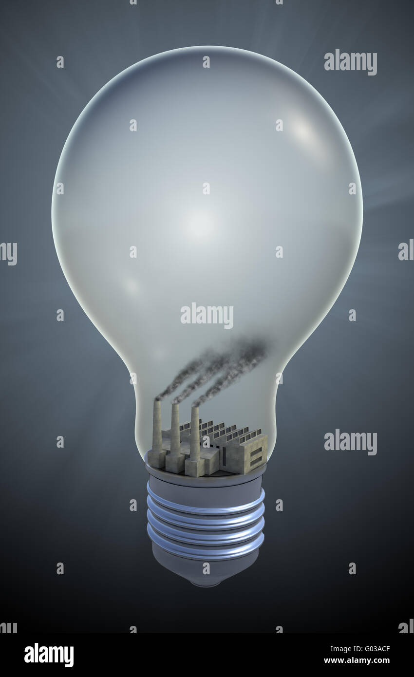 Light bulb with a Coal fired electricity - fossil fuel concept illustration - Stock Image