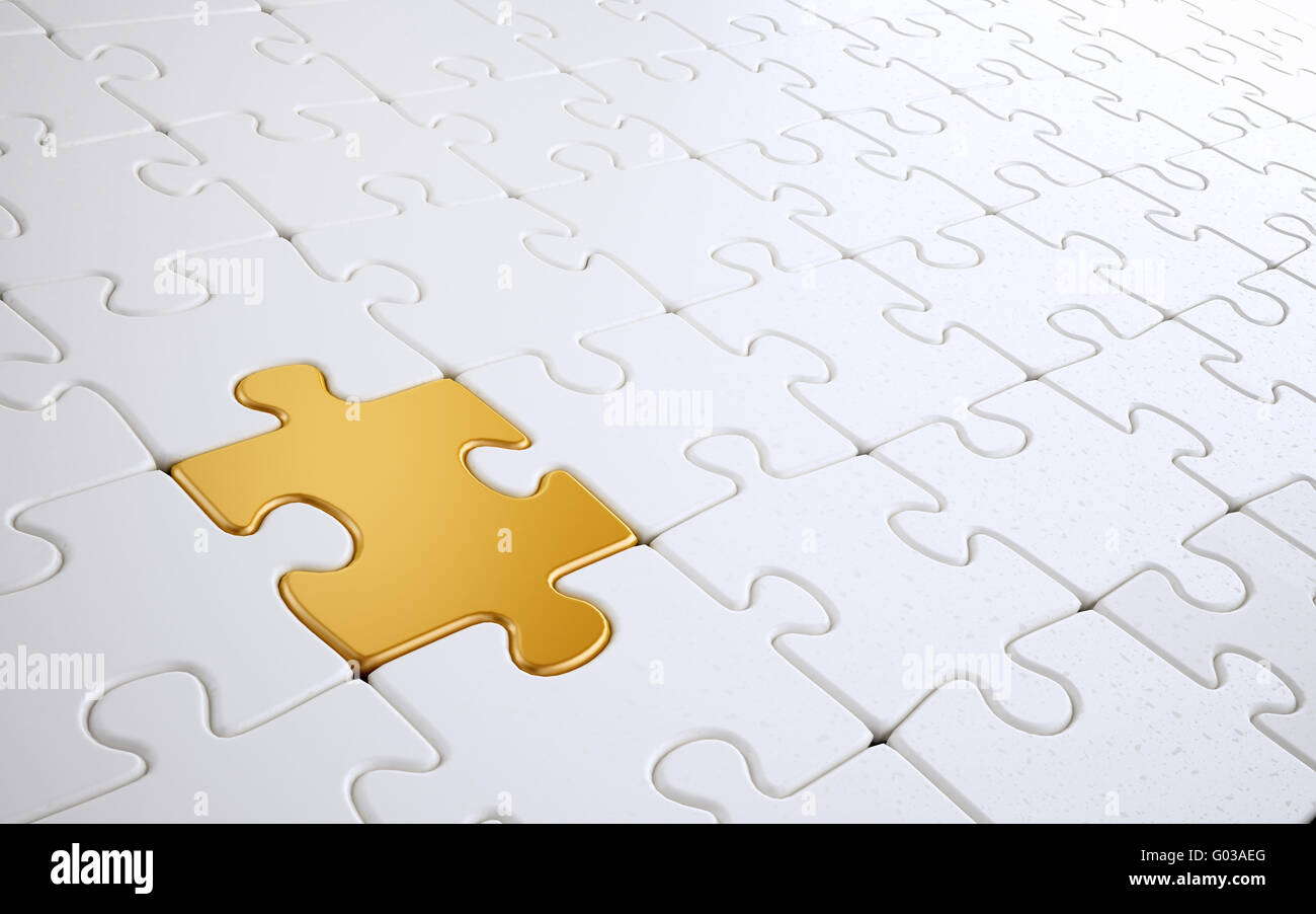White jigsaw puzzle with a single Golden  piece - Stock Image