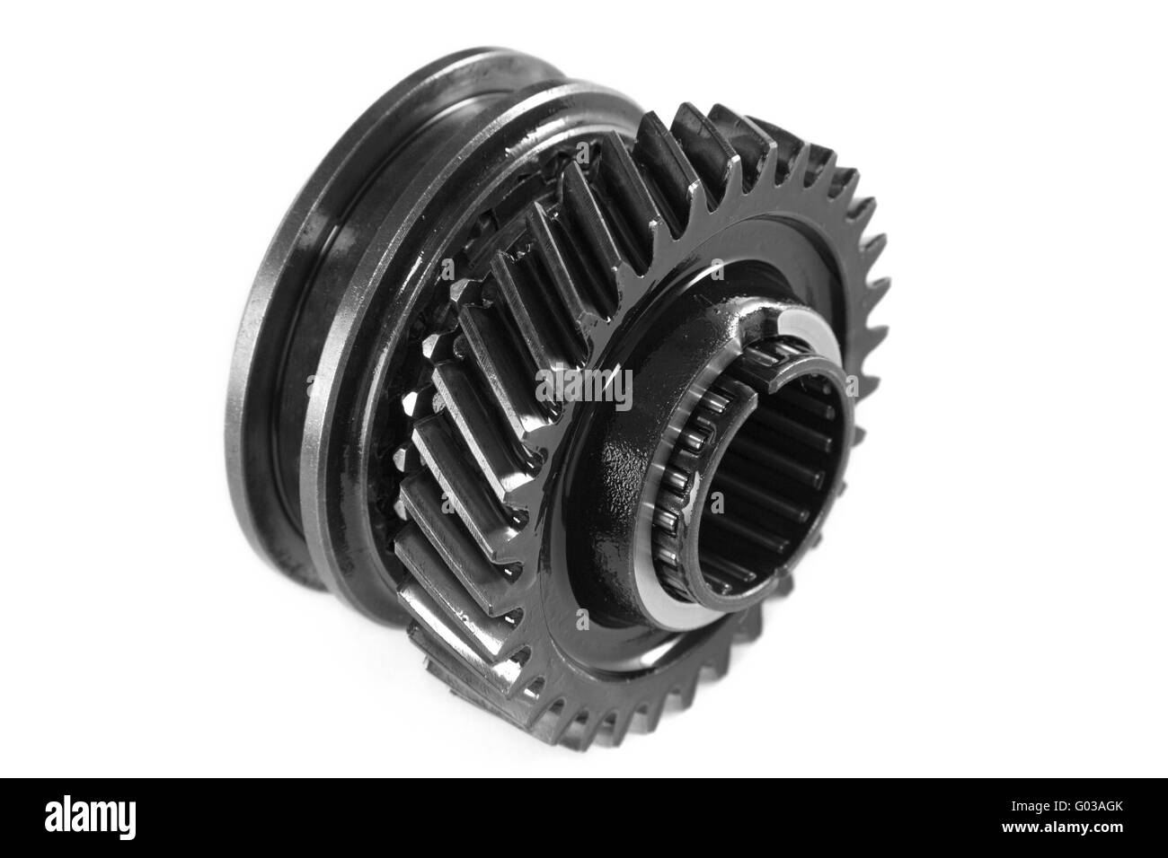 Metallic gear, isolated, on a white background - Stock Image