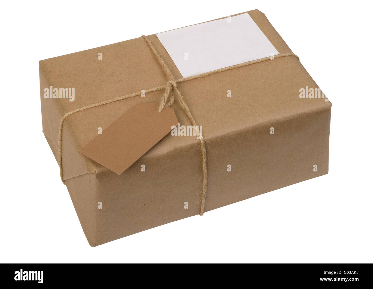 brown paper package tied with string and  label - Stock Image