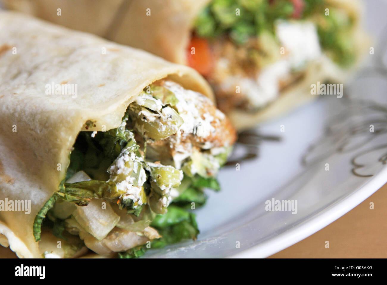 Arabic Wrap sandwich - Stock Image