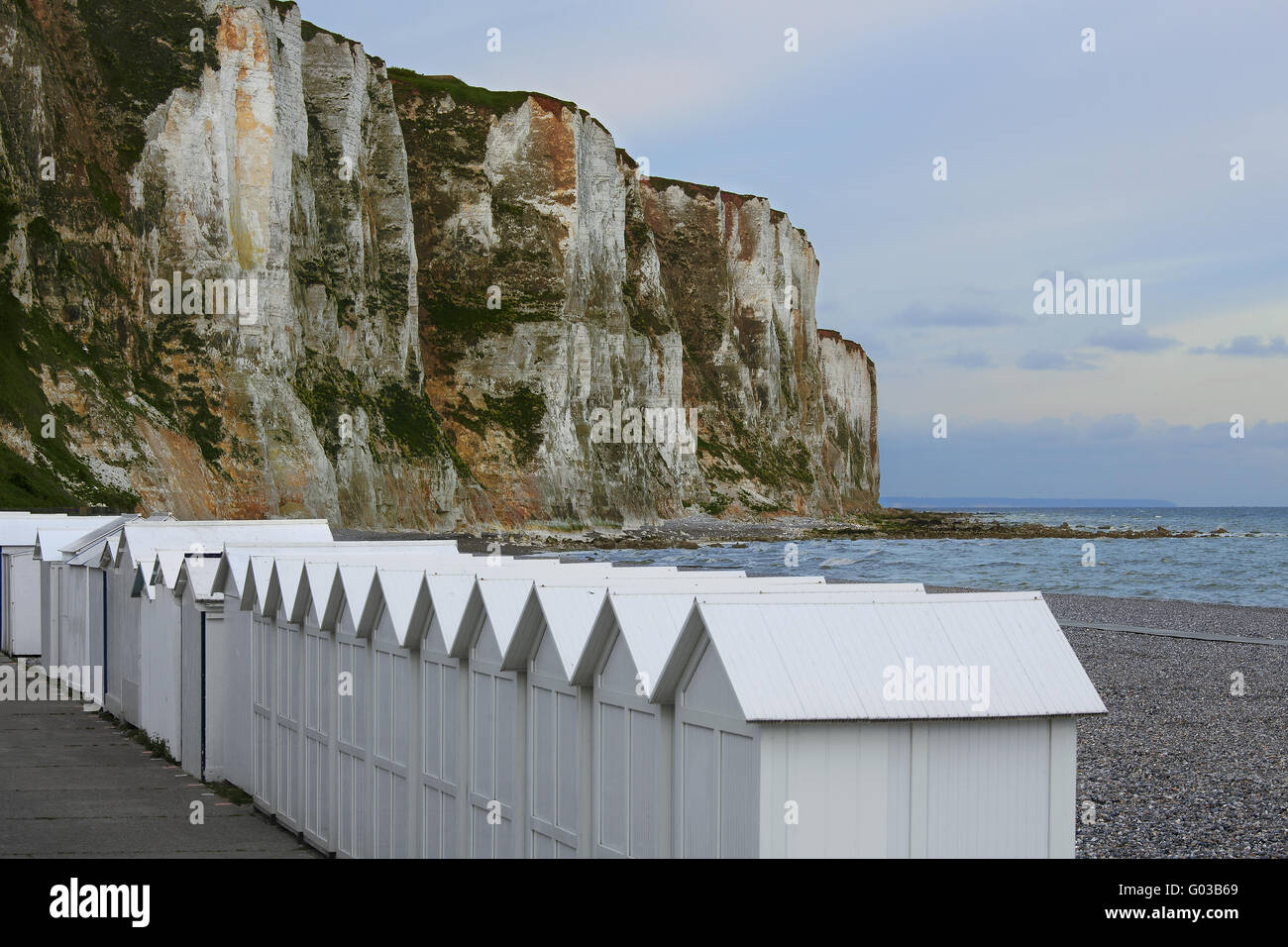 cliffs on the beach, Le Treport, Normandy, France - Stock Image