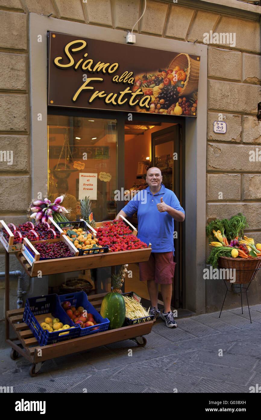 fruit and vegetables shop, Proto, Tuscany, Italy Stock Photo