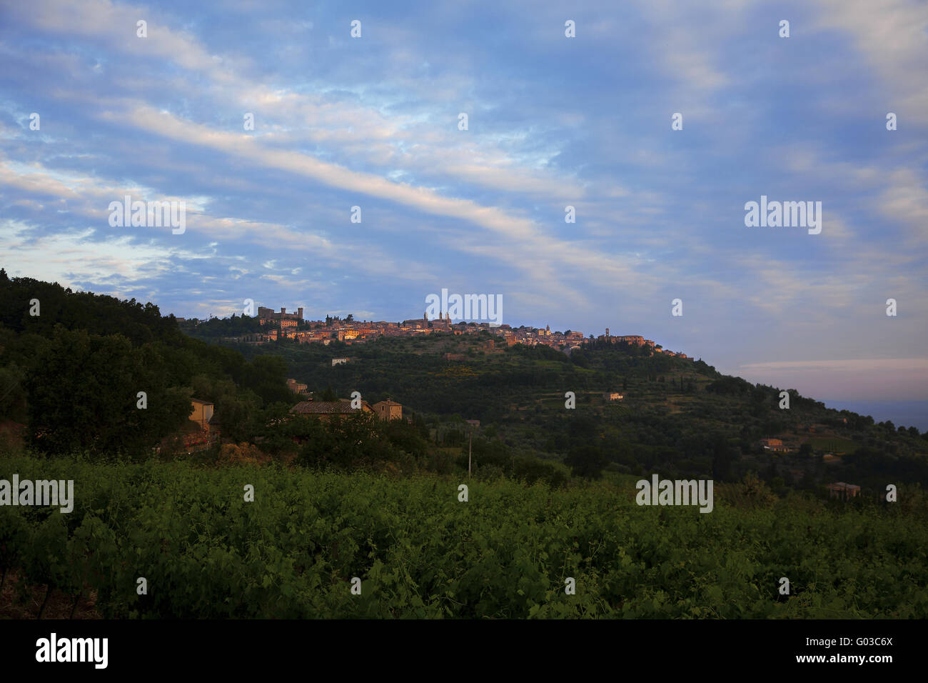 the famous wine town of Montalcino, Tuscany, Italy - Stock Image