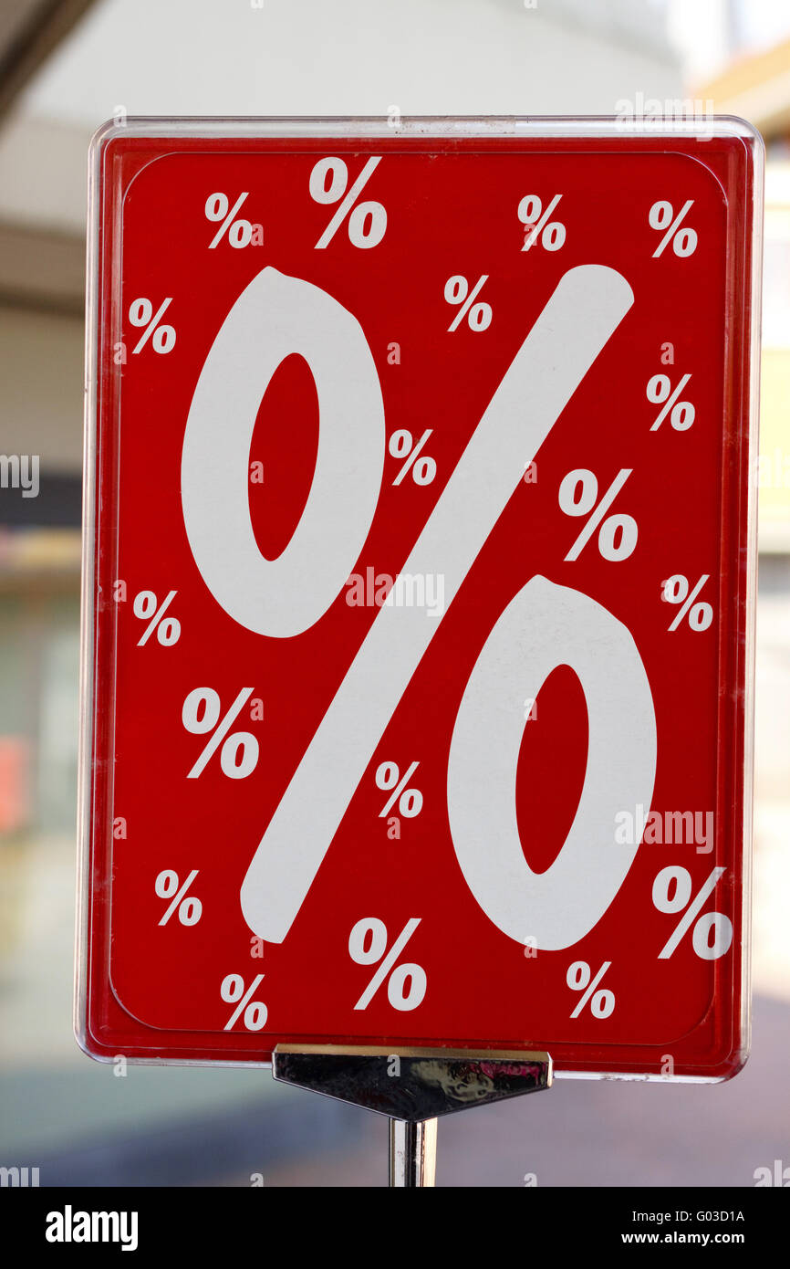 red sign percentage - Stock Image