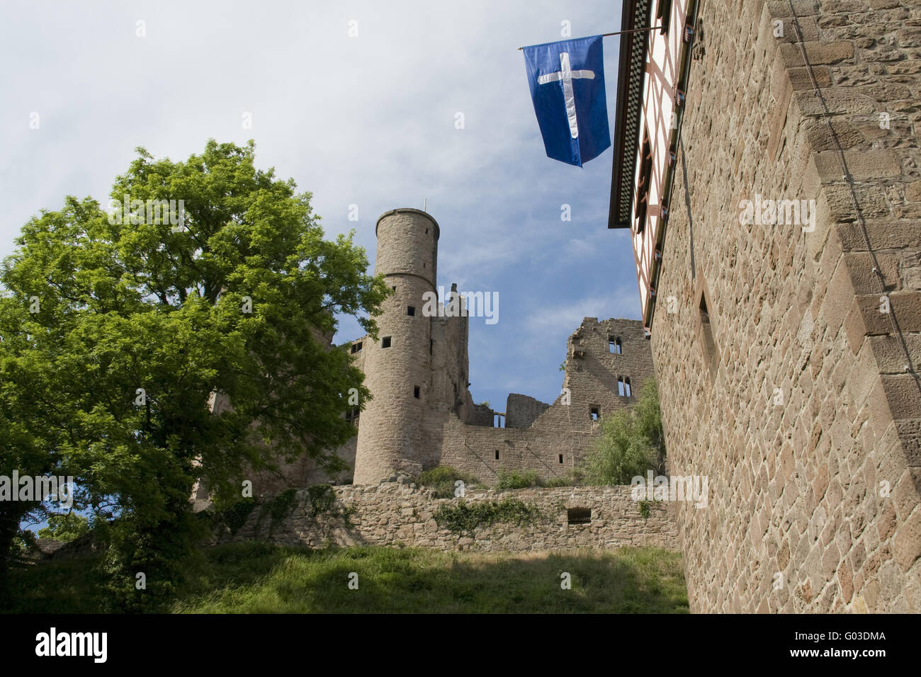 Hanstein castle with blue flag - Stock Image