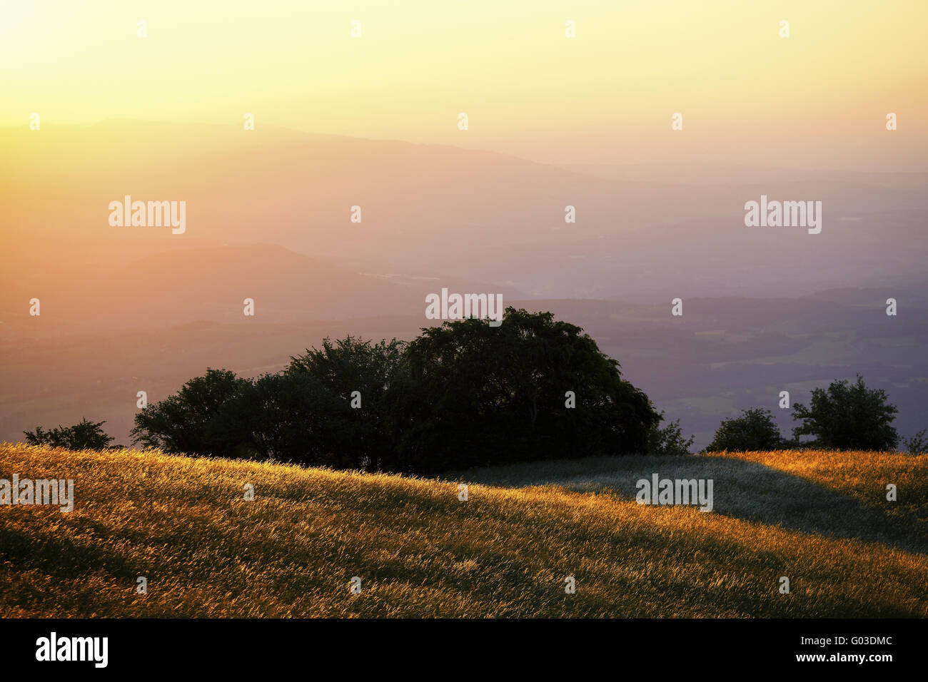 sunrise on the mountain Grand Colombier, Alps - Stock Image