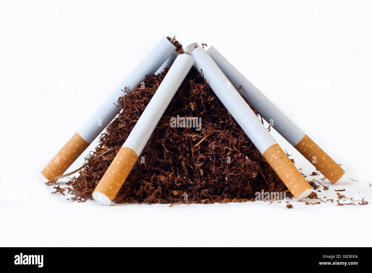 cigarettes funeral pyre - Stock Image