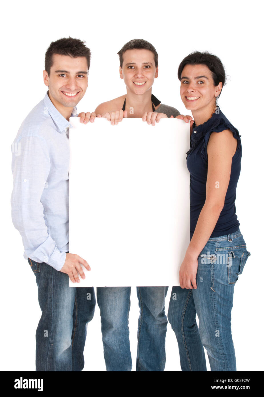 happy smiling brother and sisters holding a banner ad - Stock Image