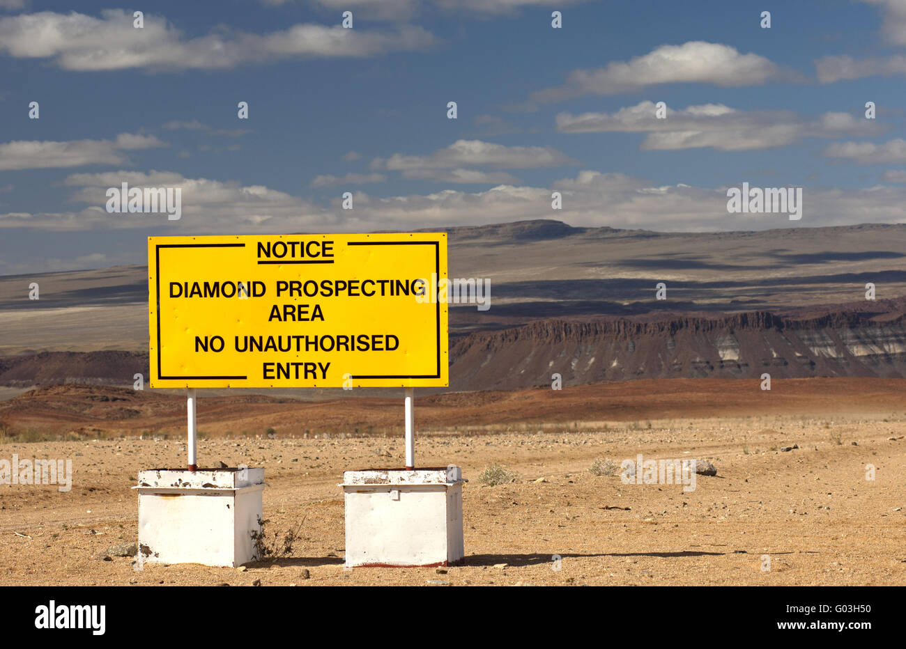 Prohibition sign at a diamond prospecting area - Stock Image