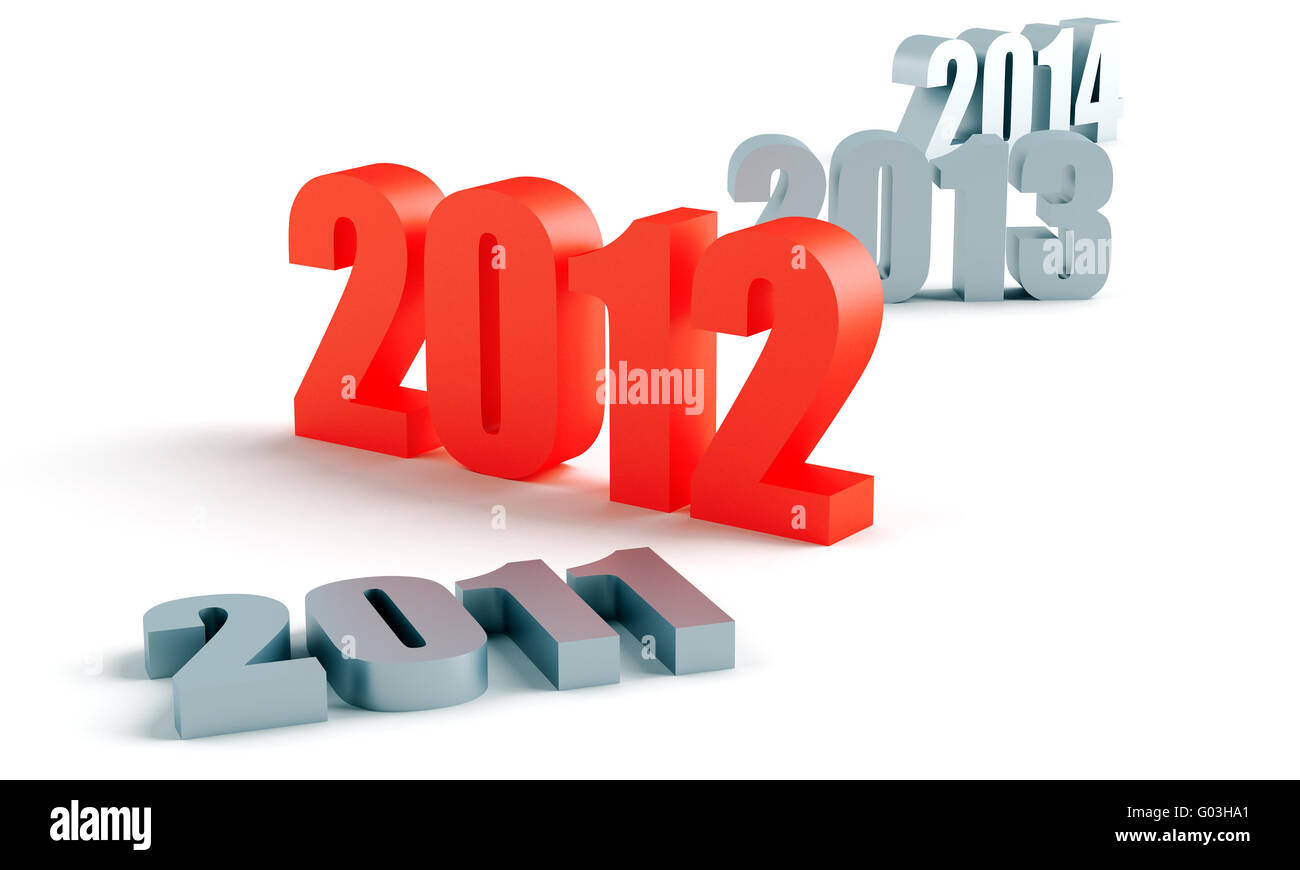 number of past and future years, and 2012 in red - Stock Image