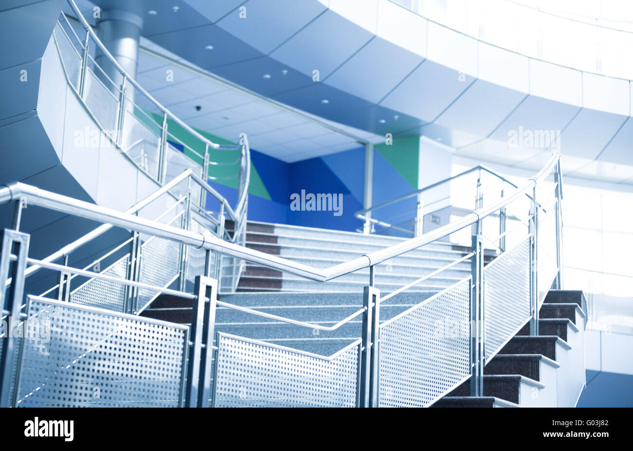 Metal details of an interior of modern office buil Stock Photo