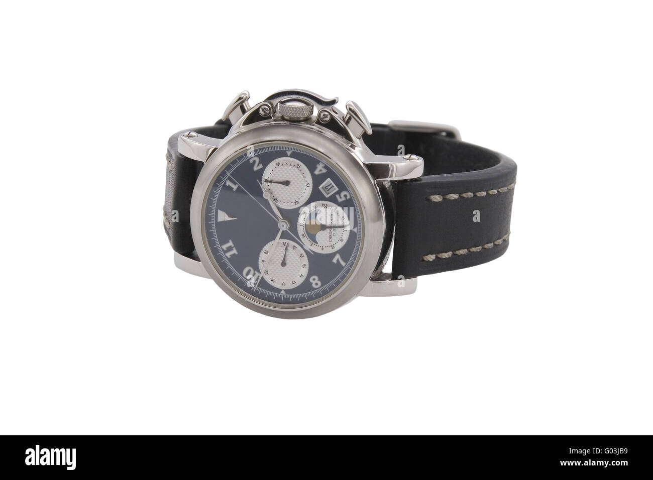 Rich silver chronograph watch in white background - Stock Image