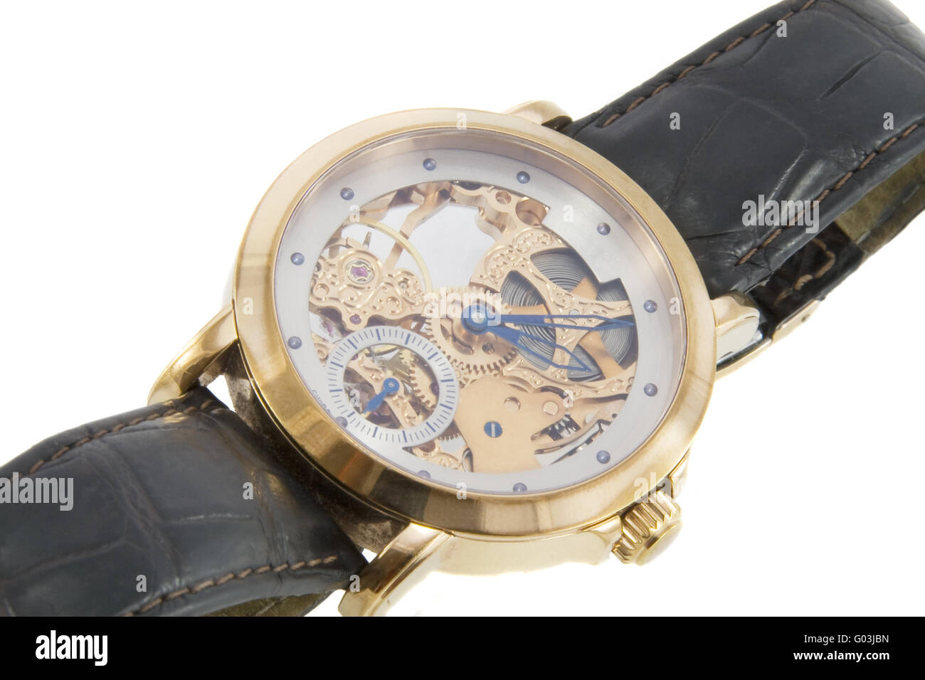 Rich gold swiss made chronograph watch in white background - Stock Image