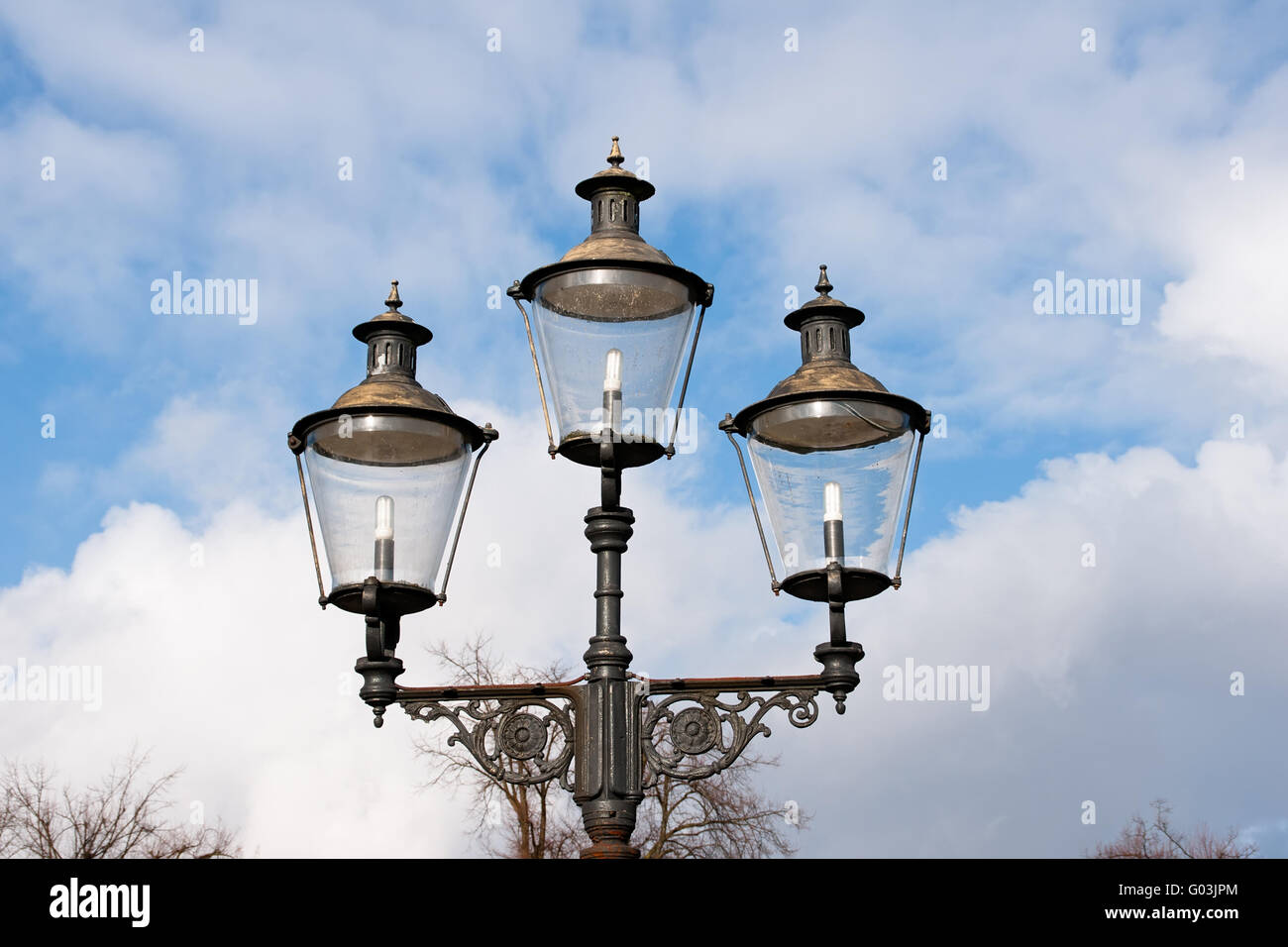 Lantern in the castle park of Muenster, Germany - Stock Image
