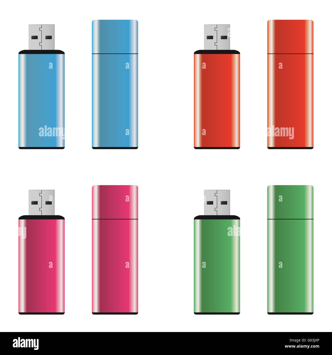 Colored USB pen drives - Stock Image