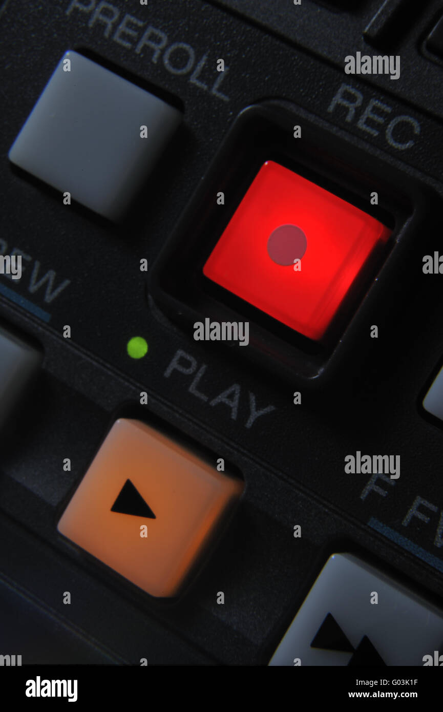 Macro shot of the Play and Record buttons Stock Photo