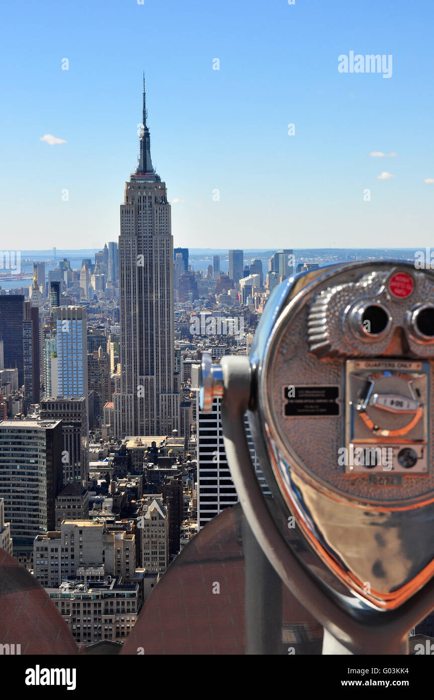 Empire State Building, shot from the Top of The Rock - Stock Image