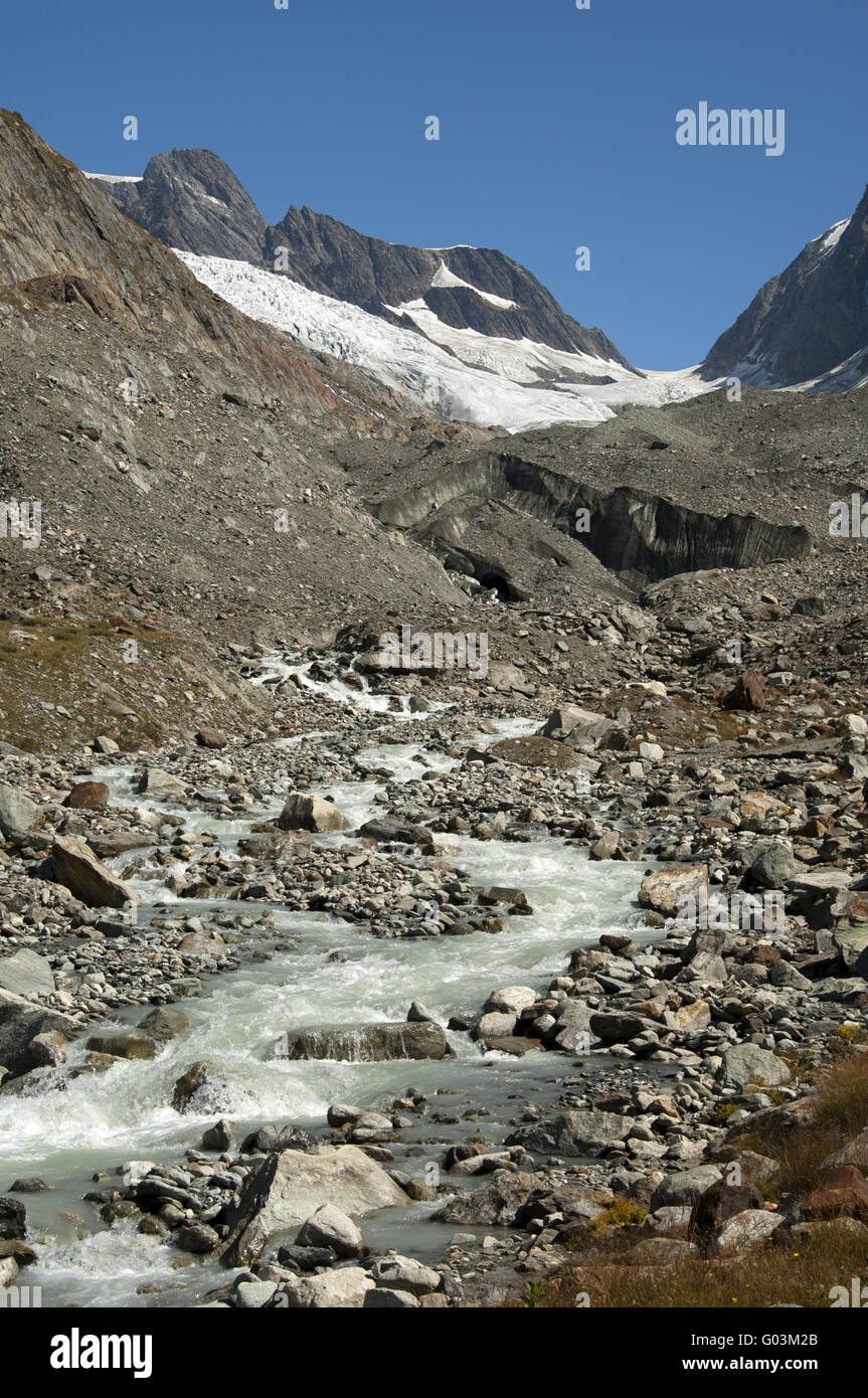 Glacier brook from the glacier Langgletscher,Alps - Stock Image
