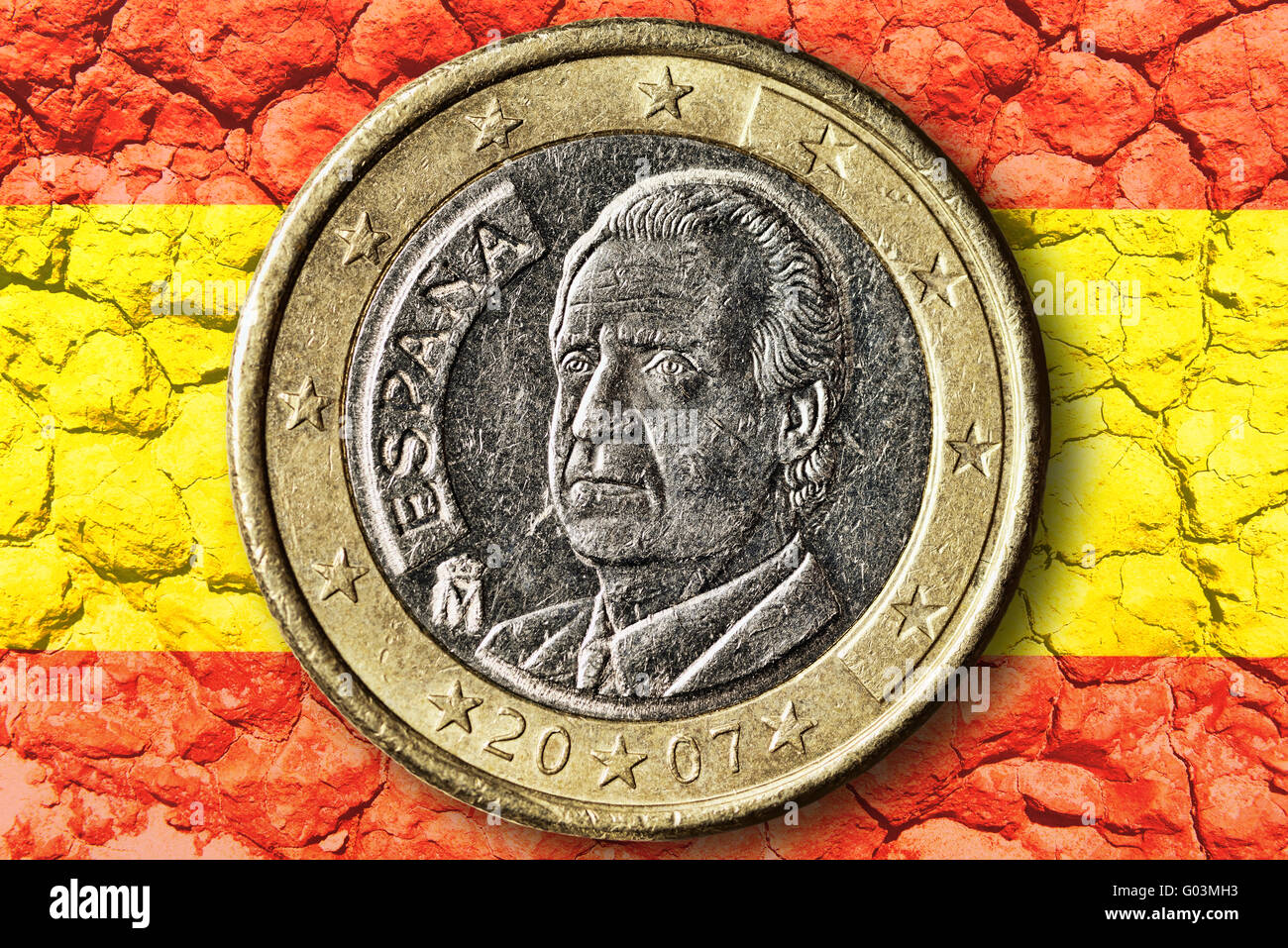 Spanish euro coin, debt crisis - Stock Image