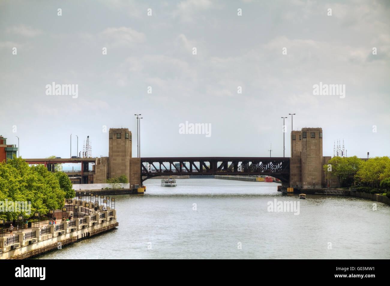 Bridge across river in downtown Chicago, Illinois - Stock Image