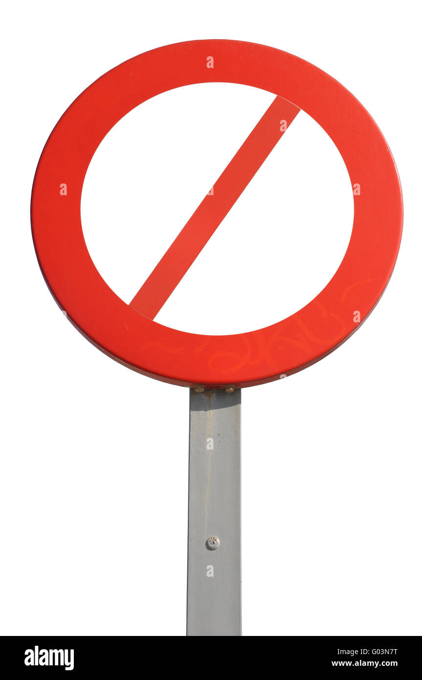 red prohibited sign isolated on white background - Stock Image