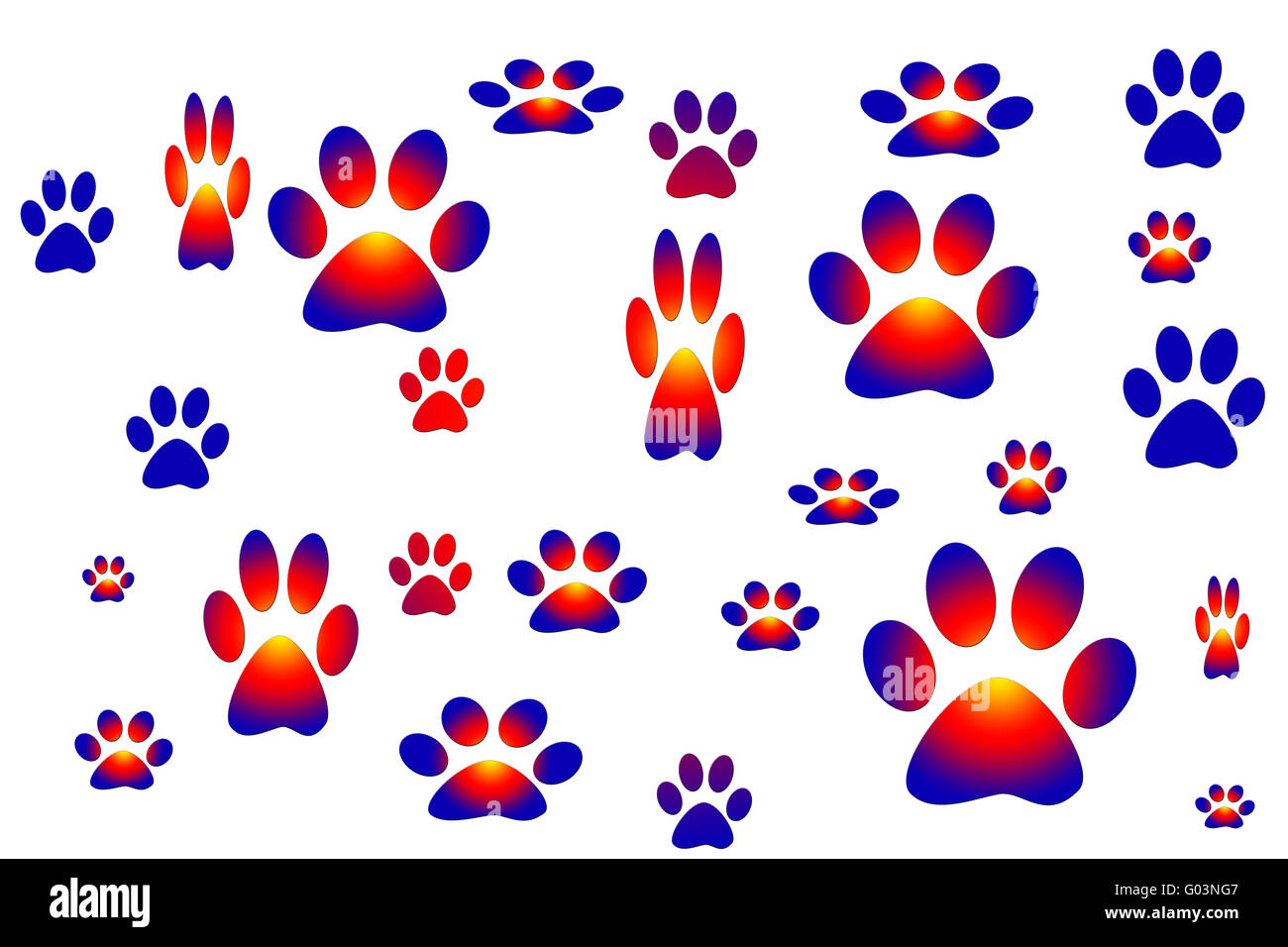 vector drawing representing animal tracks - Stock Image
