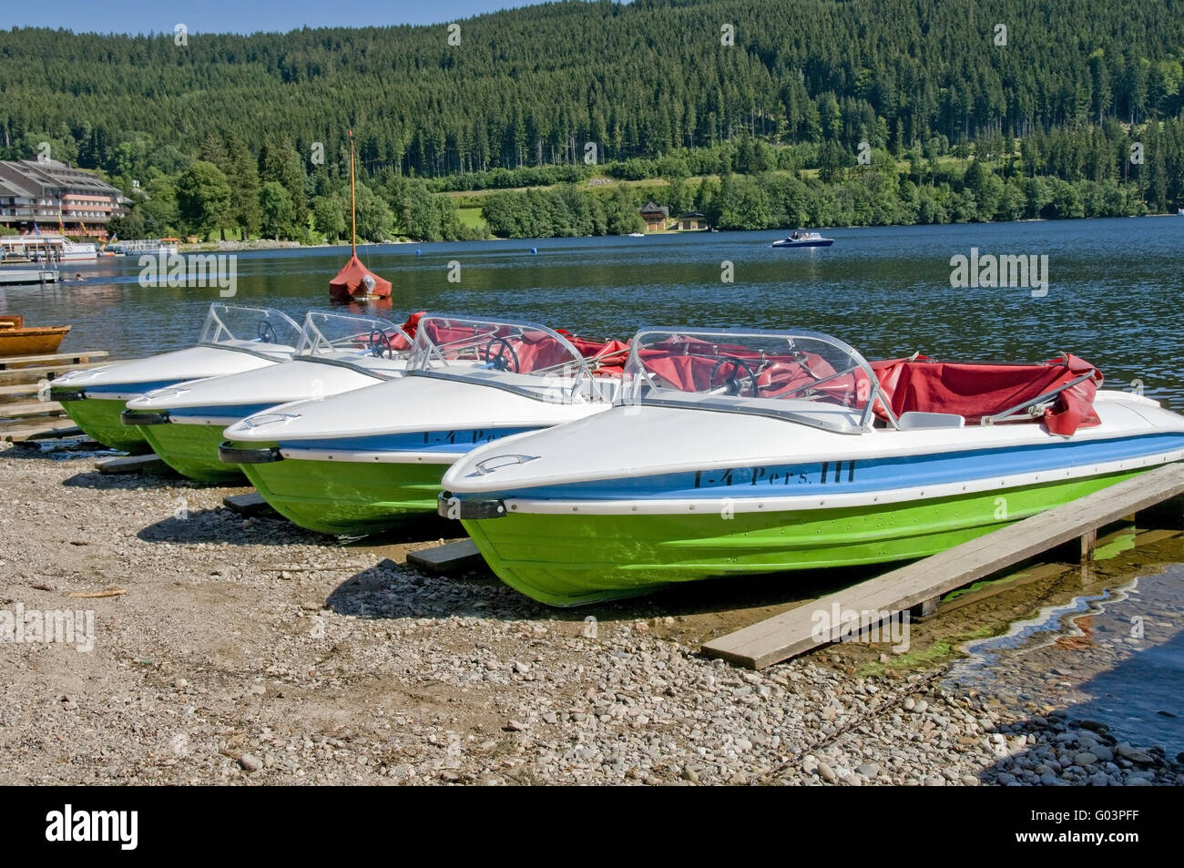 Moorage for boats at the Titisee - Stock Image