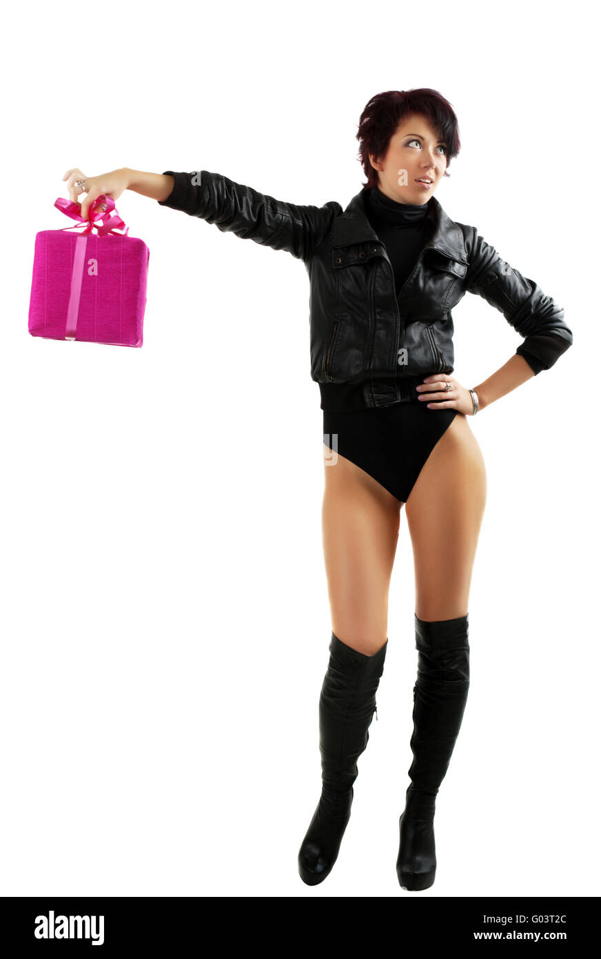 2f43d14199af7 beauty teen woman in leather jacket and high heels boots disappointed over  gift